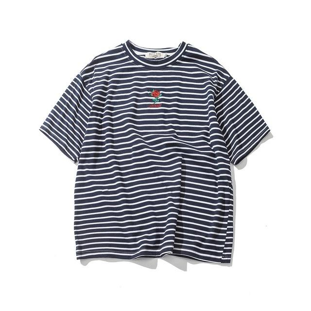 Embroidered Rose Striped T-Shirt - COCA