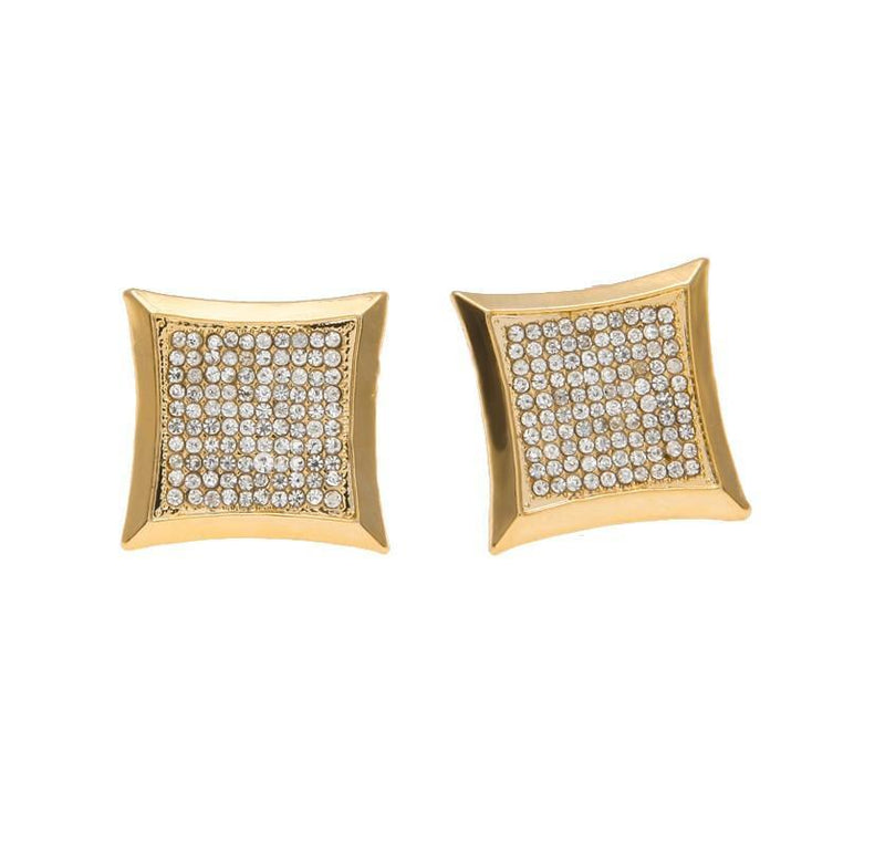 Square CZ Gold Earrings - COCA