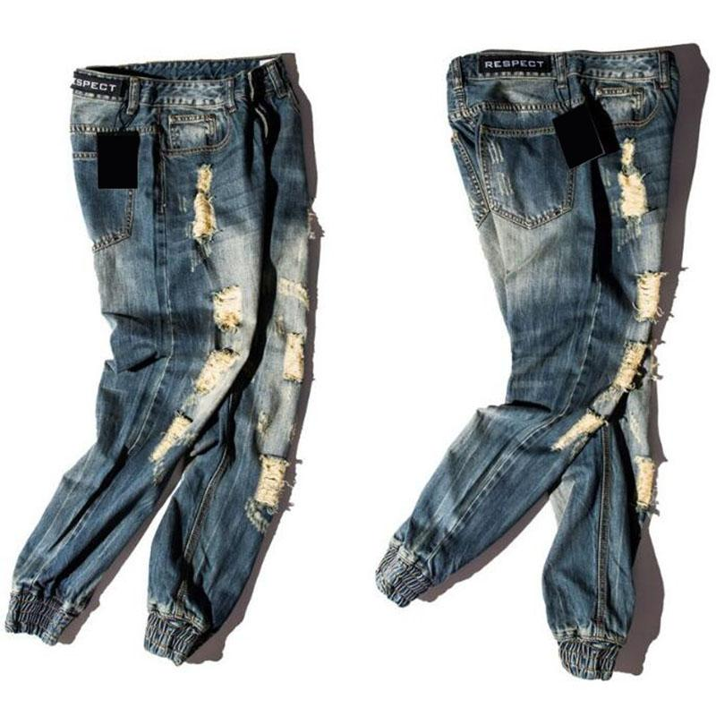 Distressed Slim Fit Jeans w/ Cuffs - COCA