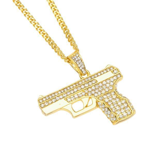 Iced Out Pistol Pendant With 24 Inch Cuban Chain - COCA