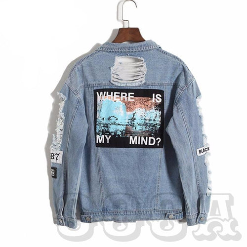 """Where Is My Mind"" Distressed Denim Jacket - COCA"