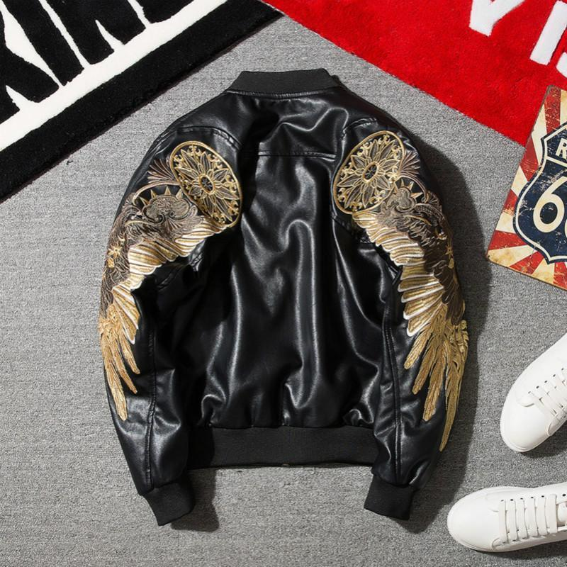 PU Leather Golden Angel Bomber Jacket In Black & Red