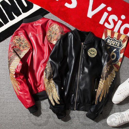 PU Leather Golden Angel Bomber Jacket In Black & Red - COCA