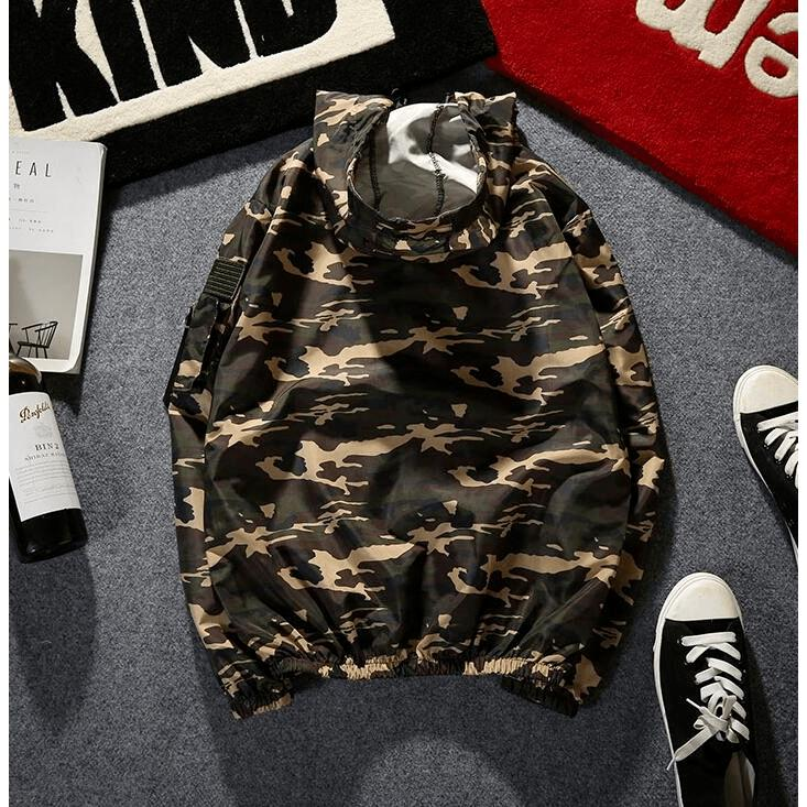 Hooded Camo Windbreaker