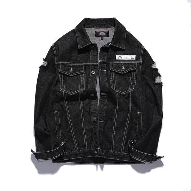Distressed Embroidered Denim Jacket In Black - COCA