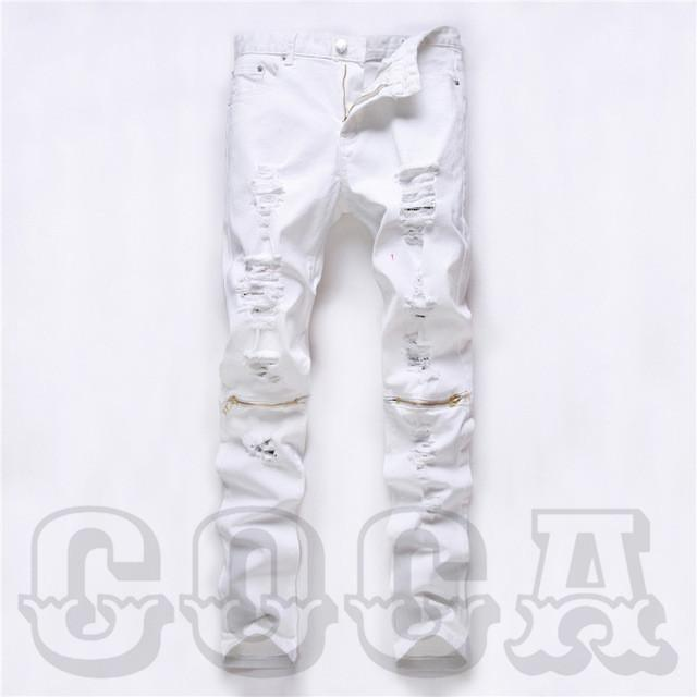 Slim Fit Distressed Jeans With Knee Zippers