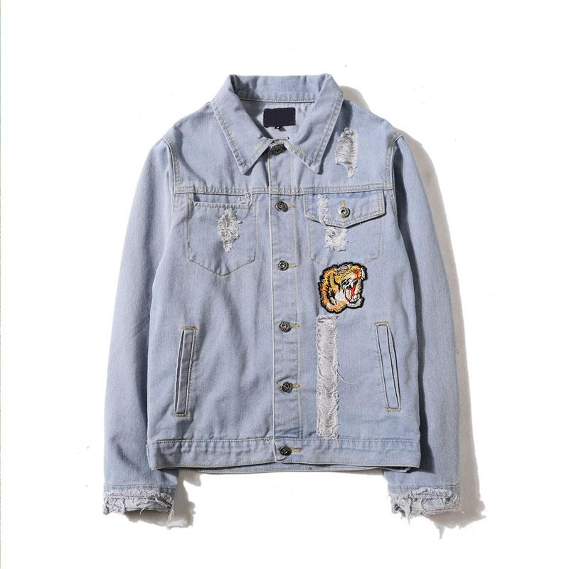 Embroidered Tiger Denim Jacket
