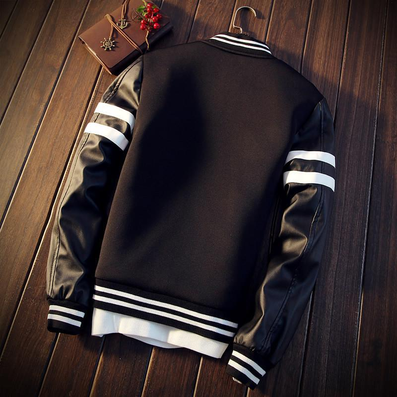 PU Leather Varsity Jacket
