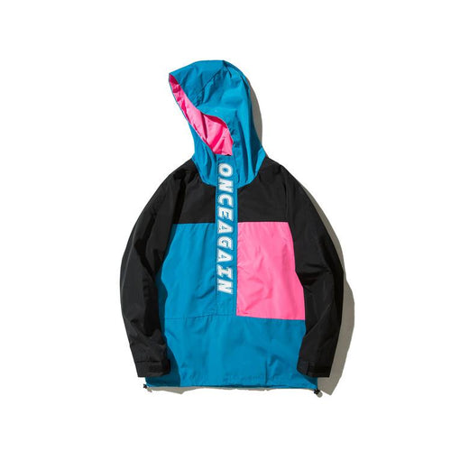 ONCEAGAIN Hooded Patchwork Windbreaker - COCA