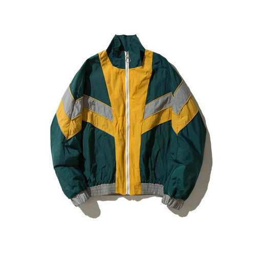 Chevron Stand Collar Windbreaker - COCA