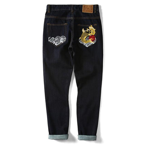 Embroidered Golden Koi River Jeans - COCA