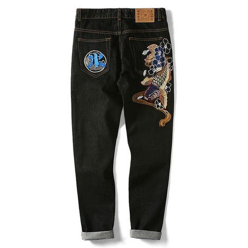 Embroidered Raged Koi River Jeans - COCA