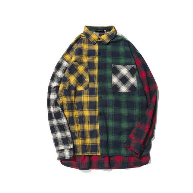 GONTHWID Color Block Patchwork Plaid Long Sleeve Shirts Men Hip Hop Casual Pocket Button Up Shirts Coats Fashion Streetwear - COCA