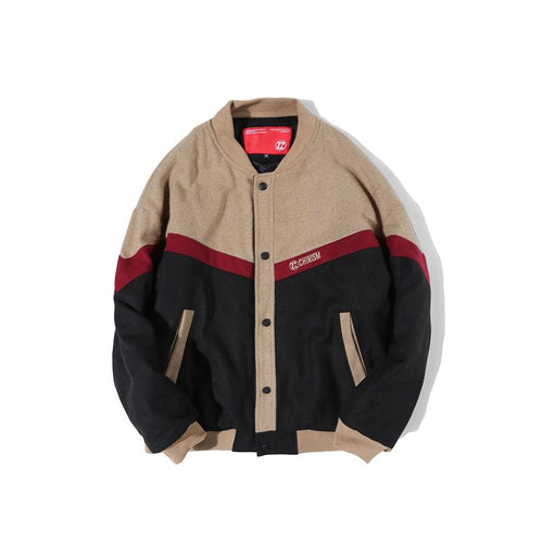 Thick Colour Block Button Up Woolen Jacket - COCA