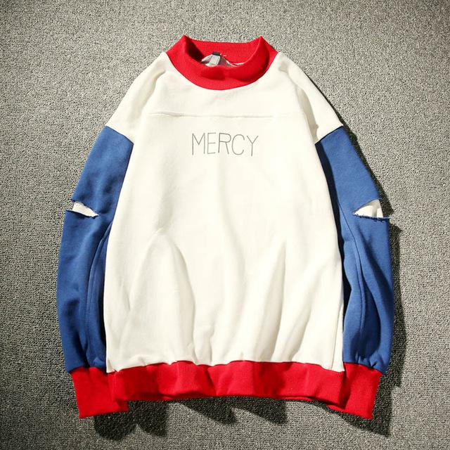 MERCY Ripped Contrast Color Sweater - COCA