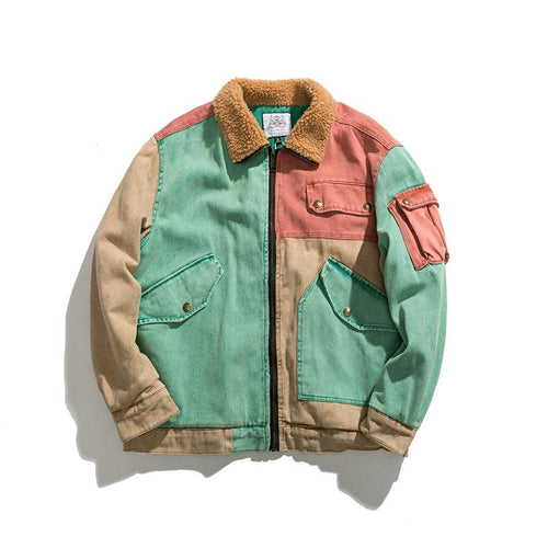 Patchwork Wool Collar Bomber Jacket - COCA