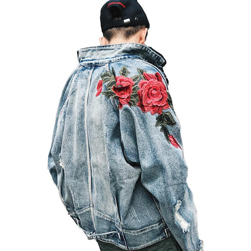 Embroidered Rose Denim Jacket - COCA
