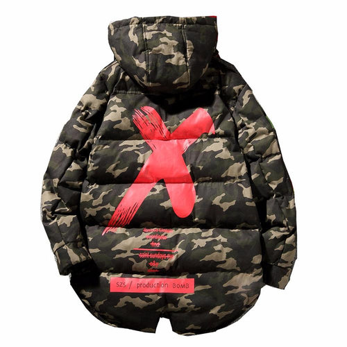 X Camo Hooded Trench Jacket - COCA