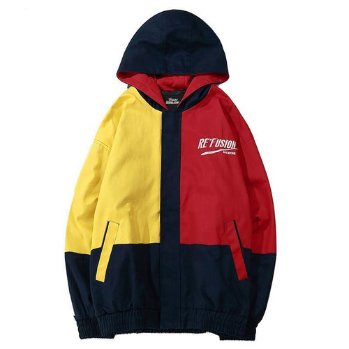 FUSED Hooded Patchwork Windbreaker - COCA