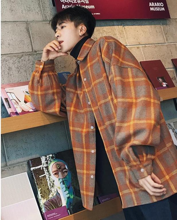 Oversized Woolen Plaid Jacket - COCA