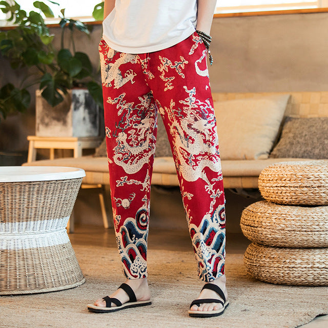 Eastern Dragon Harem Pants in Red & Blue - COCA
