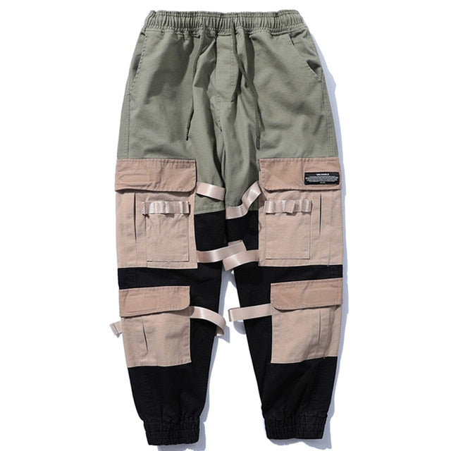 Block Patchwork Ribbons Sweatpants - COCA