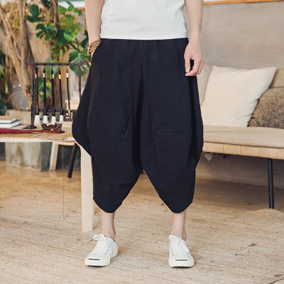Cotton Calf-Length Harem Pants - COCA