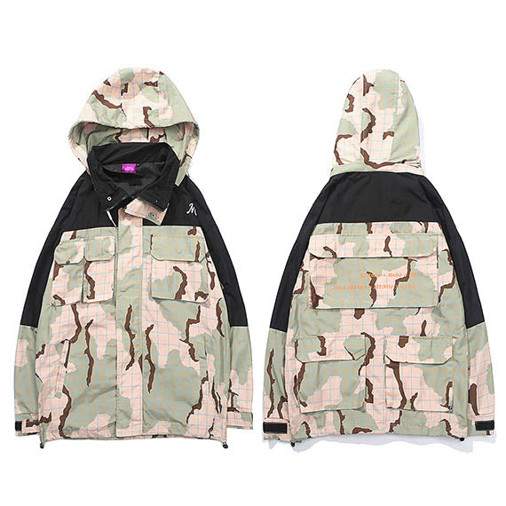 CAMOU MULTI-POCKET Hooded Windbreaker - COCA