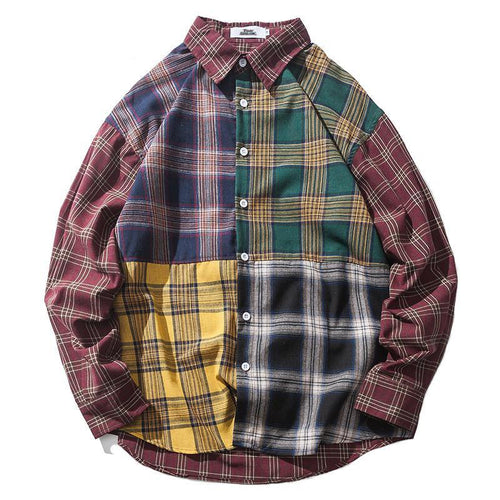 PLAIDED Color Block Long Sleeve Shirt