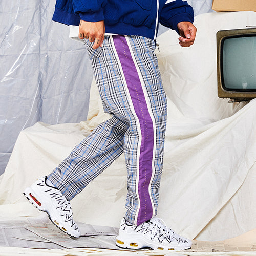 COUS LIFE Plaid Patchwork Sweatpants - COCA