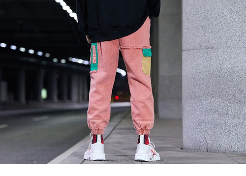 Patchwork Distressed Denim Cargo Pants - COCA