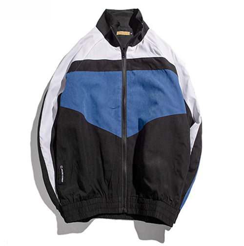 Stand Collar Contrast Colour Zip Up Windbreaker