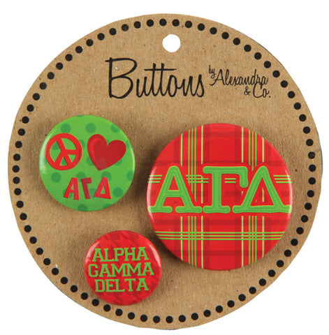 Buttons Alpha Gamma Delta - Alexandra and Company