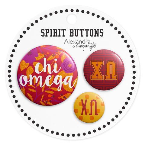 Buttons  Chi Omega - Alexandra and Company