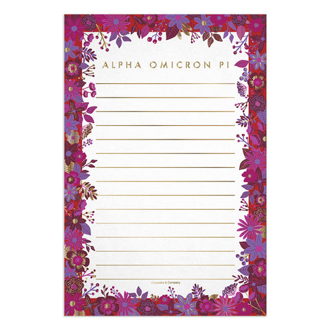 Floral Notepads Alpha Omicron Pi