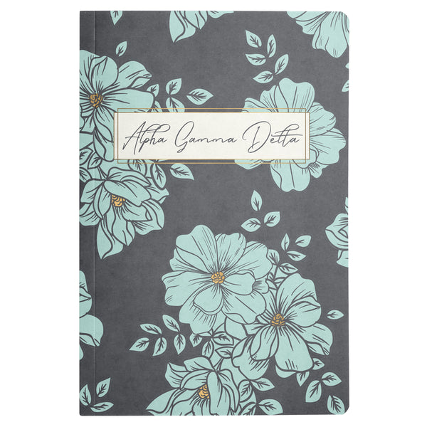 NOTEBOOK BLUE FLORAL ALPHA GAMMA DELTA (F19)