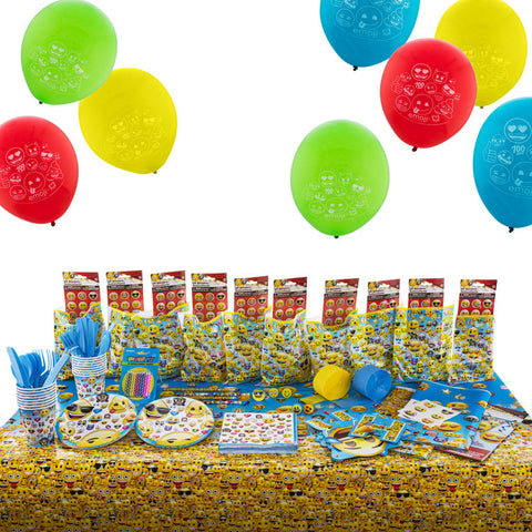 Emoji Birthday Party Supplies Kit with 10 filled loot favour bags