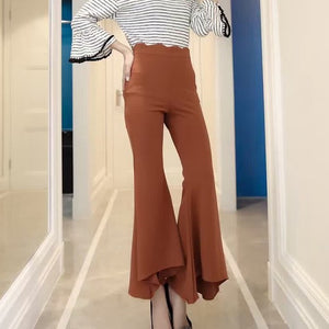 Asymmetric High Waist Flare Pants