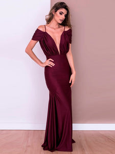 Wine Red Backless Solid Plunging V-Neck Dress
