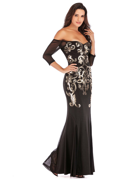 Black Floor Length Fitted Boat Neck Fishtail Evening Dress1
