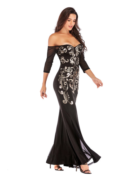 Black Floor Length Fitted Boat Neck Fishtail Evening Dress2