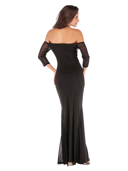 Black Floor Length Fitted Boat Neck Fishtail Evening Dress3