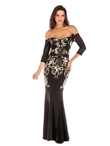 Black Floor Length Fitted Boat Neck Fishtail Evening Dress