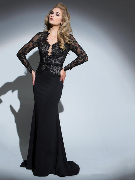 Black Patchwork Long Sleeve Lace Fitted Evening Dress