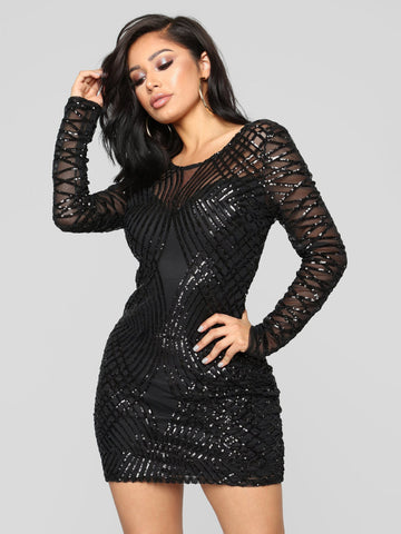 Black Patchwork Sequined Dress