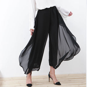 Black Two Layer Chiffon Wide-Leg Pants