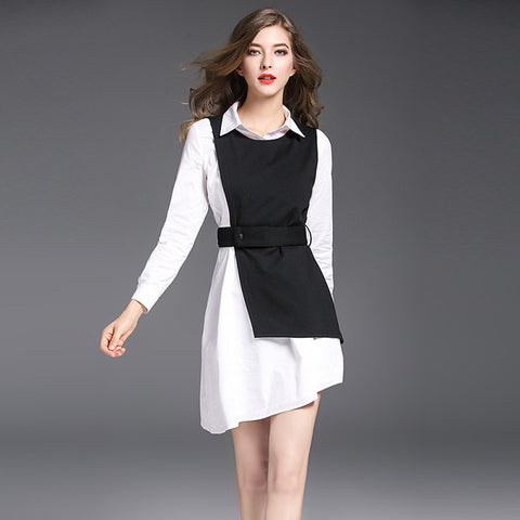 Black & White Contract Wrap Dress