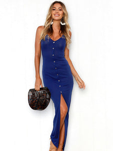 Blue V-Neck Long Dress with High Slit