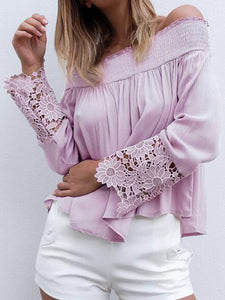 Boat Neck Long Sleeve Flower Top