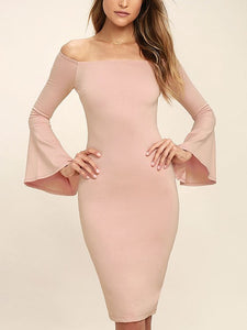 Boat Neck Ruffle Long Sleeve Dress
